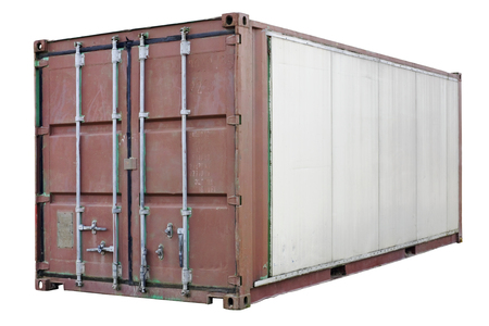standard steel: The old standard steel container for transportation of goods by ocean ships is now used as a rural shed. Isolated with patch Stock Photo