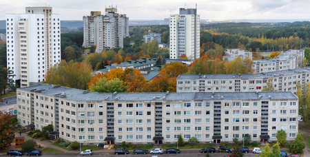 VILNIUS,  LITHUANIA - OCTOBER 08, 2016: Sleeping  dormitory old area of mass building in style of Soviet period - Lazdinai. Birds eye view autumn Lithuanian landscape