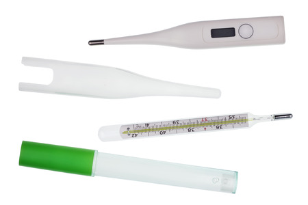 old mercury: It is old mercury and modern digital thermometers with plastic covers isolated set Stock Photo