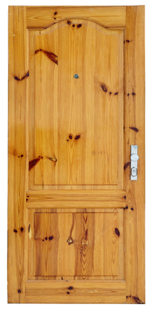 The fine but used pine wooden varnished polished door is dumped. Isolated on white