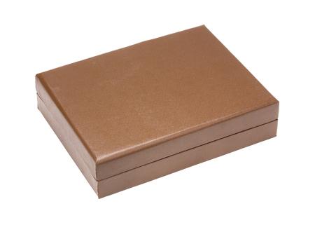 Vintage kleine bruine lederen doos voor gouden theelepels. Geïsoleerd met patch Stockfoto