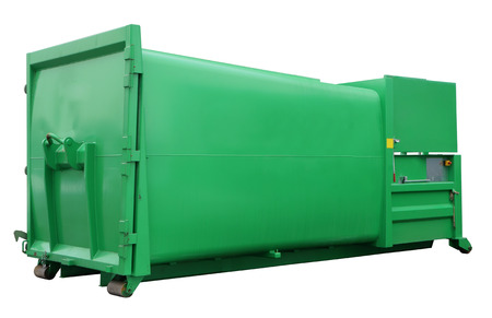 standard steel: The standard  modern  steel green  container for collecting  and recycling industrial and building wastes. Isolated