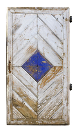 locked: Handmade old locked white wooden door isolated