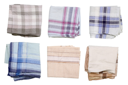 ironed: Pure simple mens handkerchief  isolated set. The man himself wash, ironed and put cotton scarfs.