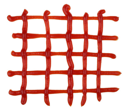 The stylized symbol of a lattice is made of tomato ketchup. Isolated on white