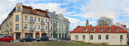 VILNIUS,  LITHUANIA- APRIL 30, 2017:  Two  vintage houses of construction in the  beginning of the twentieth century on the hill of Boksto  (Tower) Street Editorial