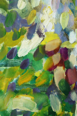 Abstract chaotic stains of  multi colored acrylic paint on a vertical white canvas. Simlpe background concept Stock Photo