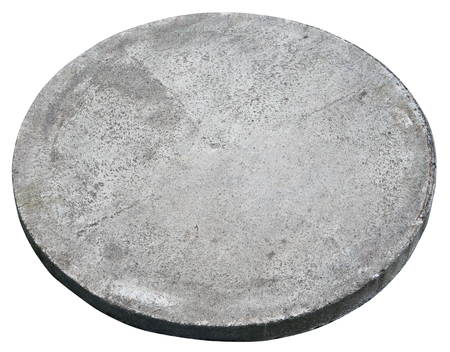 Round concrete cover  hatch for the sewerage system. Isolated on white