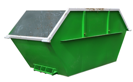 Steel new empty  green container for construction waste. Real building tool concept. Isolated on white with patch