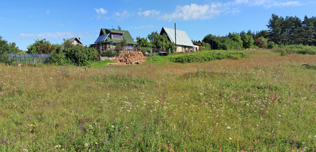 A typical Lithuanian summer grassy flowering meadow near a forest forgotten no name  village. Panoramic landscape from several July photos Stock Photo