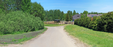 The village dirt road leads to the horse farm. On the edges of the road grow bushes and trees. Panoramic summer collage from several summer photos
