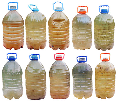 Infected with microbes and bacteria dirty dangerous water in standard plastic bottles. Iisolated  big set collage