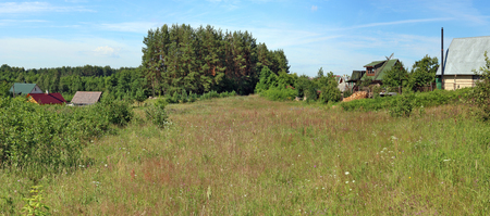 A typical Lithuanian July  grassy flowering meadow near a forest forgotten no name  village. Panoramic landscape from several summer  photos