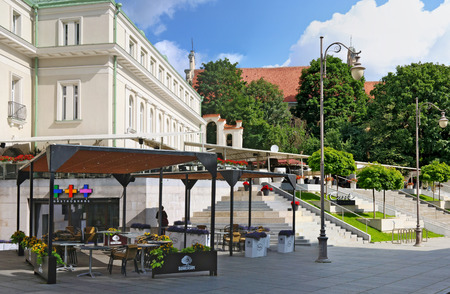 VILNIUS, LITHUANIA - AUGUST 05, 2017:  Open summer cafe Somersby Cider in the Gediminas King street. This of 4.5% abv cider by Danish brewing company Carlsberg Group was developed in 2008