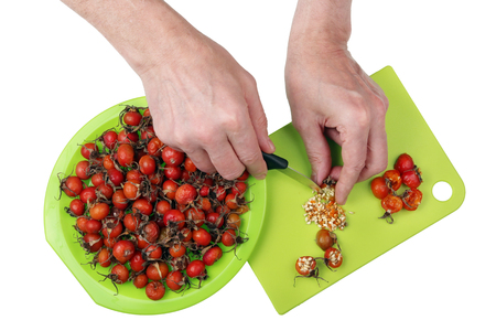 Processing  with knife and hands of vitamin medicinal red berries of forest dogroseberries. Removing of  prickly seeds with a knife. Isolated top view studio shot