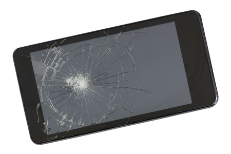 A broken screen of modern black  phone. This device was wiped from a pneumatic gun. Isolated  studio shot. Mass production.
