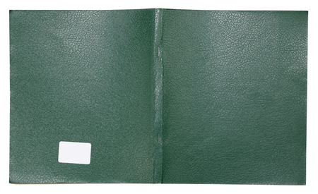 The cover of an ordinary students notebook is made of green  artificial leather. Isolated on white with patch Stock Photo
