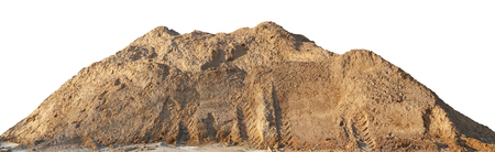 A large pile of construction sand with traces of tractor wheels. Isolated on white outdoor shot Stock Photo