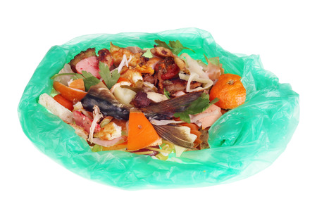 Food waste which remain after  cooking  in green plastic bag.  Isolated macro studio shot. The power of humanity in the future concept