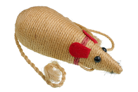 Homemade toy mouse for a cat made of jute rope.m Isolated on white studio macro