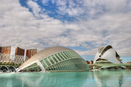 palau: City of Arts and Sciences. We can see the  L�Hemisf�ric and the Palau de les Arts Reina Sofia.