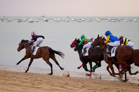 SANLUCAR DE BARRAMEDA, CADIZ, SPAIN - AUGUST 07: Horses races on August 07, 2010 on the beach of Sanlucar de Barrameda, Cadiz, Spain. The races of Sanlucar de Barrameda  are one of the most important horses races of the world Stock Photo - 8822271
