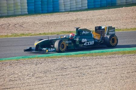 JEREZ DE LA FRONTERA, SPAIN - FEB 10: Jarno Trulli of Team Lotus F1 ON February 10 , 2011, on training session in Jerez de la Frontera , Spain Stock Photo - 9048264
