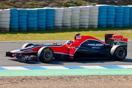 glock: JEREZ DE LA FRONTERA, SPAIN - FEB 11: Timo Glock of Team Virgin F1 ON February 11 , 2011, on training session in Jerez de la Frontera , Spain Editorial