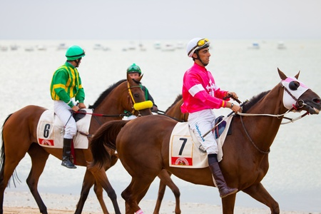 SANLUCAR DE BARRAMEDA, CADIZ, SPAIN - AUGUST 07: Horses races on August 07, 2010 on the beach of Sanlucar de Barrameda, Cadiz, Spain. The races of Sanlucar de Barrameda  are one of the most important horses races of the world Stock Photo - 9048219
