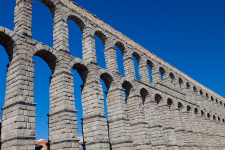 Wonderful aqueduct of Roman epoch, placed at Segovias city photo