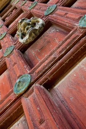 Detail of an ornate door knocker on the door of a building Stock Photo - 9107679