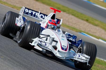 f1: JEREZ DE LA FRONTERA, SPAIN -  OCT 11: Robert Kubica of BMW-Sauber F1 on October 11 , 2006 on training session in Jerez de la Frontera , Spain Editorial