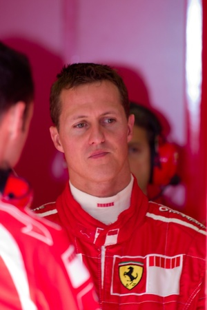 JEREZ DE LA FRONTERA, SPAIN -  OCT 11: Michael Schumacher of Scuderia Ferrari F1 on October 11 , 2006 on training session in Jerez de la Frontera , Spain Stock Photo - 9205049