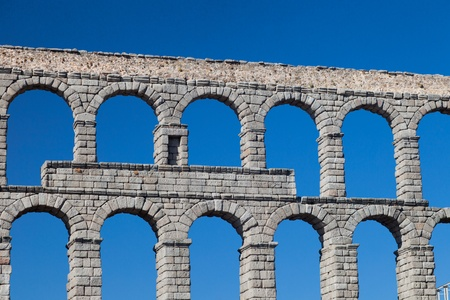 Wonderful aqueduct of Roman epoch, placed at Segovia's city Stock Photo - 9328053