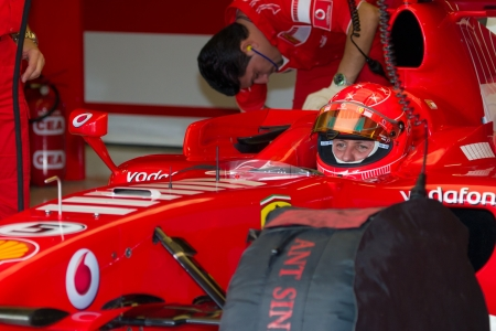 JEREZ DE LA FRONTERA, SPAIN -  OCT 11: Michael Schumacher of Scuderia Ferrari F1 on October 11 , 2006 on training session in Jerez de la Frontera , Spain