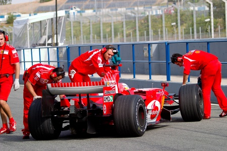 JEREZ DE LA FRONTERA, SPAIN -  OCT 10: Marc Gene of Scuderia Ferrari F1 on October 10 , 2006 on training session in Jerez de la Frontera , Spain Stock Photo - 9386767