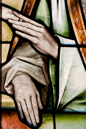 catholic stained glass: Wonderful ancient stained glass window formed of multiple colors