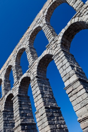 Wonderful aqueduct of Roman epoch, placed at Segovias city photo