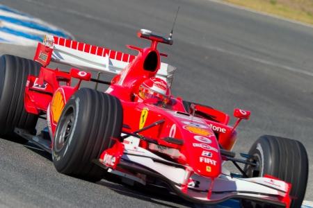 formula one racing: JEREZ DE LA FRONTERA, SPAIN -  OCT 11: Michael Schumacher of Scuderia Ferrari F1 on October 11 , 2006 on training session in Jerez de la Frontera , Spain