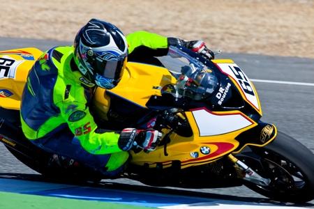 gomez: JEREZ DE LA FRONTERA, SPAIN - APR 17: Stock Extreme motorcyclist Juan Eric Gomez takes a curve in the CEV Championship race on April 17, 2011 in Jerez de la Frontera, Spain