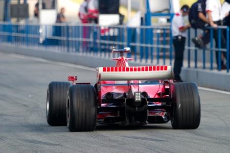 JEREZ DE LA FRONTERA, SPAIN - OCT 11: Michael Schumacher of Scuderia Ferrari F1 leaving the pits on training session on October 11 , 2006 in Jerez de la Frontera , Spain