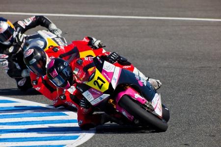 JEREZ DE LA FRONTERA, SPAIN - APR 17: Moto2 motorcyclist Ivan Moreno takes a curve in the CEV Championship race on April 17, 2011 in Jerez de la Frontera, Spain. Stock Photo - 9671695
