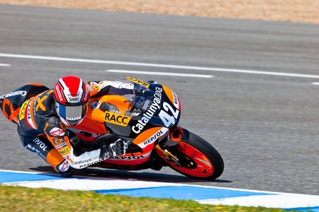rins: JEREZ DE LA FRONTERA, SPAIN - APR 17: 125cc motorcyclist Alex Rins takes a curve in the CEV Championship race on April 17, 2011 in Jerez de la Frontera, Spain.