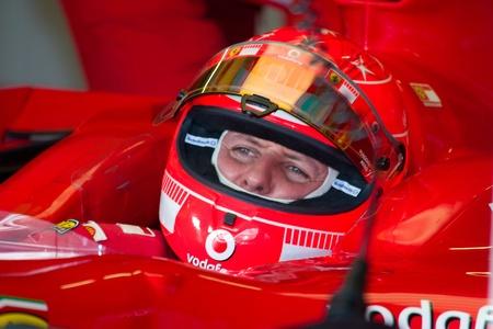 JEREZ DE LA FRONTERA, SPAIN - OCT 11: Michael Schumacher of Scuderia Ferrari F1 waiting on pits on training session on October 11, 2006 in Jerez de la Frontera , Spain