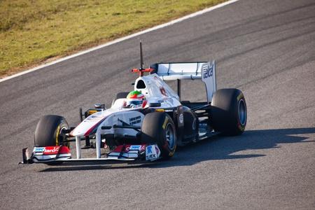 sauber: JEREZ DE LA FRONTERA, SPAIN - FEB 10: Sergio Perez of Sauber F1 races on training session on February 10 , 2011, in Jerez de la Frontera , Spain