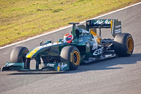 team lotus: JEREZ DE LA FRONTERA, SPAIN - FEB 10: Jarno Trulli of Team Lotus F1 races on training session on February 10 , 2011, in Jerez de la Frontera , Spain