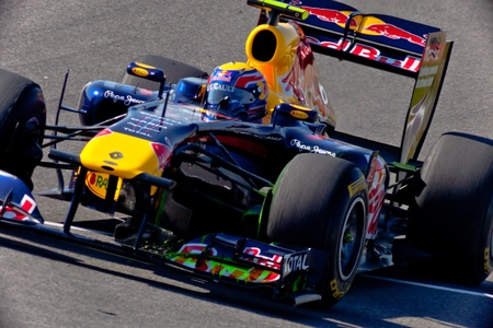 JEREZ DE LA FRONTERA, SPAIN - FEB 11: Mark Webber of RedBull Racing F1 races on training session on February 11 , 2011, in Jerez de la Frontera , Spain Stock Photo - 9889538