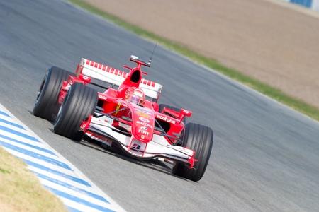 michele: JEREZ DE LA FRONTERA, Spagna - 11 OCT: Michael Schumacher di gare della Scuderia Ferrari F1 sulla sessione di allenamento, 11 ottobre 2006 a Jerez de la Frontera, Spagna