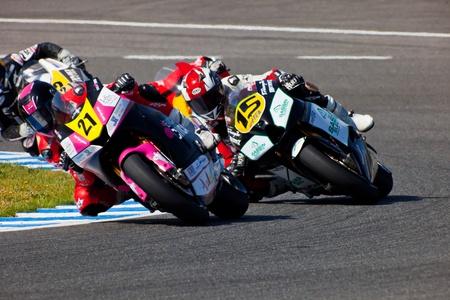JEREZ DE LA FRONTERA, SPAIN - APR 17: Moto2 motorcyclist Ivan Moreno takes a curve in the CEV Championship race on April 17, 2011 in Jerez de la Frontera, Spain. Editorial