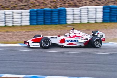 jarno: JEREZ DE LA FRONTERA, SPAIN - DEC 04: Jarno Trulli of Toyota F1 races during a training session on December 04, 2004, in Jerez de la Frontera, Spain Editorial